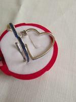 Óriási szív füli kék zafír kővel 925 ezüst