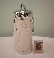 Porcelán mécsestartó, óriás gyertya forma M 21 cm