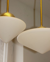 Art deco réz mennyezeti lámpa szett (6 darabos) - matt, kúp alakú tejüveg búra