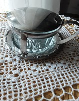 Metal polished glass jam holder, marked, very nice, flawless condition