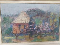 BORDÁS FERENC: Tájkép házikóval (olaj-vászon 60x90 cm) Aba-Novák tanítványa -panoráma, látkép, hegy