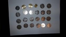 Kossuth 100, 50, 20, 10 forintos érmék ritka hátlappal 24 darab