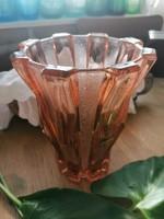 Art deco préselt üveg váza, vastagfalú