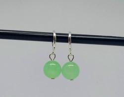 Természetes zöld jáde fülbevaló 12 mm-s gyöngyökből