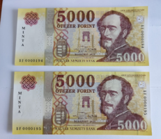 Sorszámkövető MINTA 5000 forint 2020 aUNC (BF 194-195)