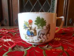 Antik Zsolnay Piroska és a farkas mese mintás csésze
