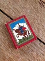 Régi tűzzománccal díszített miniatűr könyv bőr kötésben Brodarics Históriája A mohácsi vészről