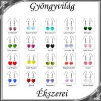 Ékszerek-fülbevalók: Swarovski kristály fülbevaló -10mm-es szív több színben
