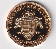 Aranyozott ezüst /0999/ Szent István 100  Pengő  Tükörveret Certivel