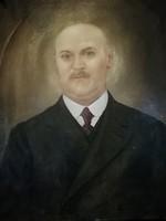 Antik férfi olaj vászon portré festmény 55cm X 67 cm