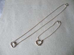 KK859 925 Ezüst nyaklánc és karkötő szett szív medállal