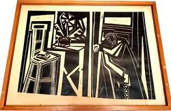 Kassák Lajos (1887 - 1967) - Linómetszet+vers+aláírás+1/1 magyar nemzeti galéria részére