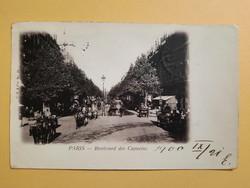 Antik levelezőlap - fotó képeslap, Paris, Boulevard des Capucins, 1900