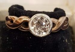 AKCIÓ -10% Nagyon szép, régi, mutatós gyémánt, 14 K arany gyűrű