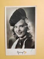 Antik levelezőlap - fotó képeslap, Szeleczky Zita saját kezű aláírásával