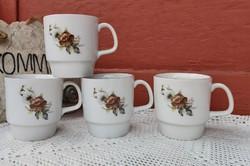 4 db Alföldi kakaós virágos bögrék, bögre , nosztalgia darab