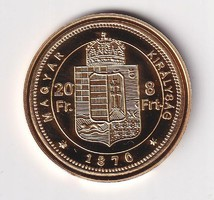 Aranyozott ezüst /0999/ 8 Ft Ferenc József  Tükörveret Certivel