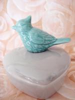 Vintage kerámia madaras fedeles szív alakú cukortartó 9 cm