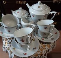 Zsolnay, antik, arany díszes, virágmintás hibátlan állapotú 15 részes teás készlet