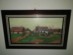 Gera Éva - Falusi házak - eredeti olajfestmény