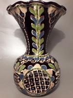 Nagy méretű antik Lázi János HMV un. kehely szájú kerámia váza