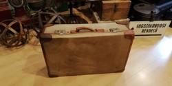 Bőrönd, régi textil koffer, loft dekoráció