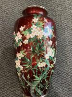 Japán zománc váza  cseresznye virágos