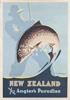 Horgászat, ugró hal, pisztráng, horgászbot, Új-Zéland 1950 Vintage/antik plakát reprint