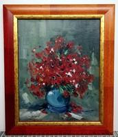 Szignós, olaj, virágcsendélet feszített vásznon ( 24 x 30, új keretben )