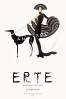 Francia art deco divat kép, hölgy, kutya, kalap, estélyi, boa, Erté. Vintage/antik plakát reprint
