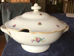KPM óriási porcelán fedeles leveses tál, gyönyörű, antik