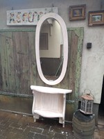 Vintage konzolasztal fazettazott antik tükörrel 17.000 Ft