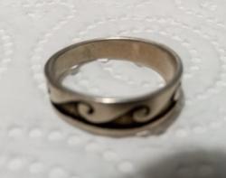 Jelzett Ezüst Hullám Mintás Karika Gyűrű