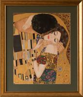 KÜLÖNLEGESSÉG! Dr. Hiszekné Judit, Klimt, Csók című selyemakvarell képe
