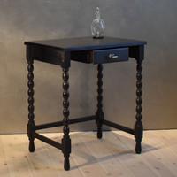 Fekete színű antik női íróasztal, különlegesen felújított, selyemfényűre polírozva