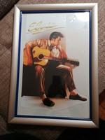 Ritka Elvis Presley fotónyomat kartonon. Nagyméretű, 31x46 cm keret nélkül. Üvegezett keretben.