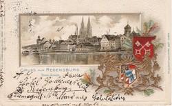 Regensburg litho képeslap