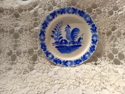 Kakasos kék kerámia falitányér