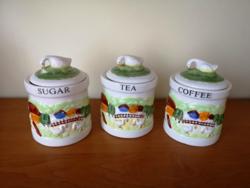 Kávétartó, cukortartó, teatartó kerámia szett