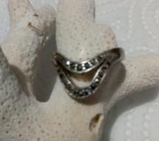 Jelzett Ezüst Markezit Köves Gyűrű