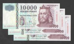 """10000 forint 2008. """"AC"""". 3 db sorszám követő! Extra alacsony sorszám, 2, 3, 4 ! UNC!"""