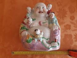 Kínai Porcelán - Nevető Buddha Gyerekekkel - gyermekáldást, a családiot, örömöt jelképez