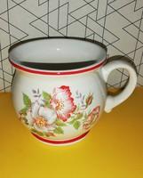 Retró virágos vastagfalú pocakos csésze