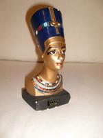 Antik Egyiptomi aranyozott színes Fáraó Fej- 18 cm-es