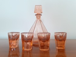 Régi art deco likőrös üveg rózsaszín üveg pohár 7 db