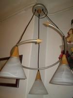 Modern 3 ágú fújtüveg fa kombináció mennyezeti csillár lámpa EXTRA hibátlan