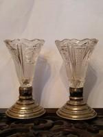 2 db ezüst talpas kristály pohár, váza