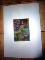 Cs. Németh Miklós: Hölgyek sorban, eredeti jelzett akvarell 1993