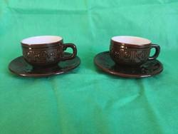 Mázas kerámia kávés csészék aljjal, 2 db, olcsón eladó