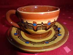Bolgár mázas kerámia kávéscsésze + alátét, csésze átmérője 7 cm.